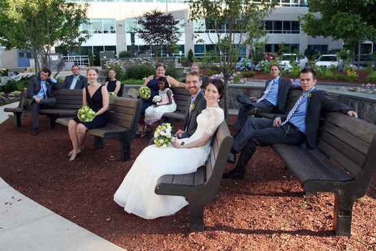 Wedding party on benches