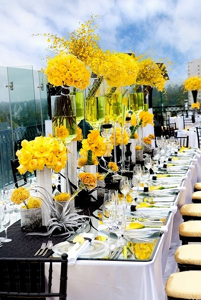 black and yellow table