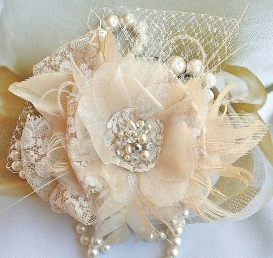 Blush Lace Feather Crystal Pearl Wedding Bridal Fascinator by FancieStrands