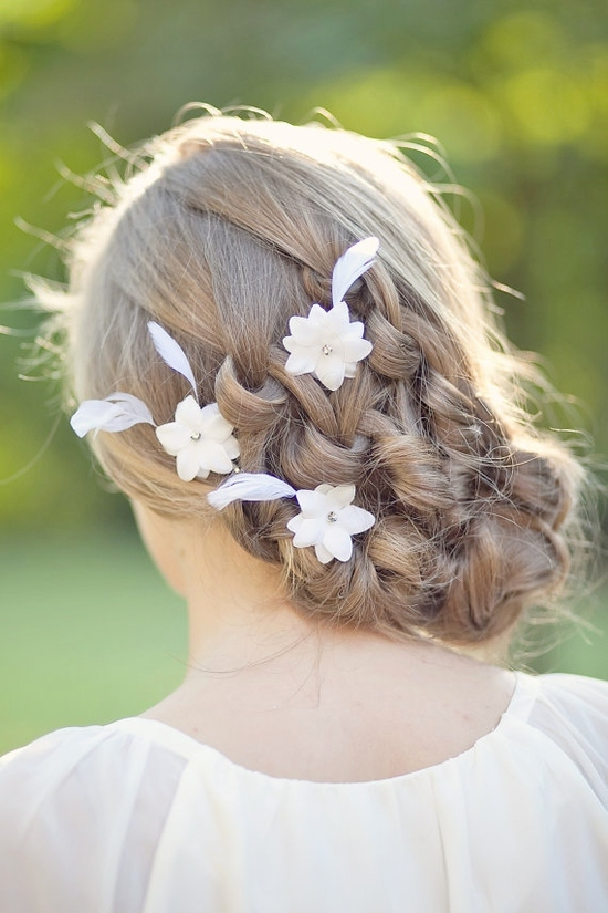 White feather hair flowers by FancieStrands