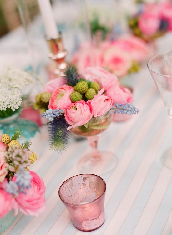 Pretty pink wedding reception tablescape
