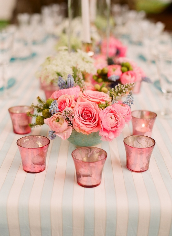Romantic pink and green wedding centerpieces