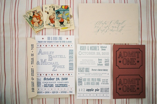 Circus Inspired Wedding Invitations