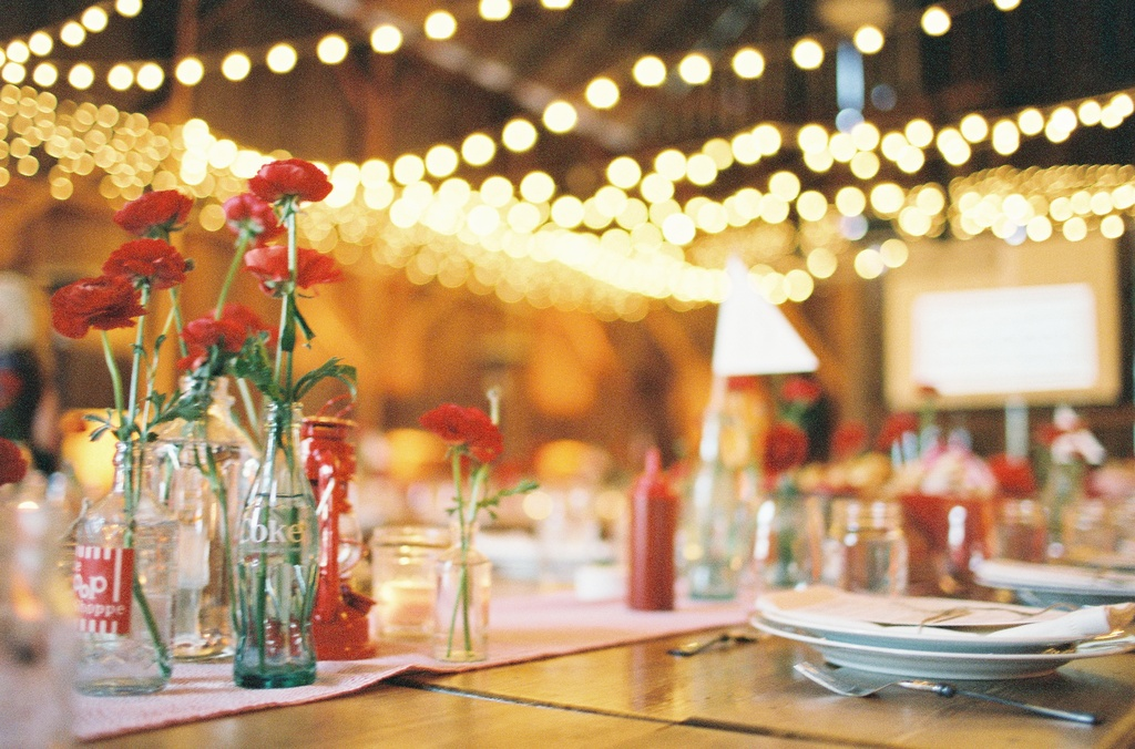 & State Fair Inspired Barn Wedding Table Setting