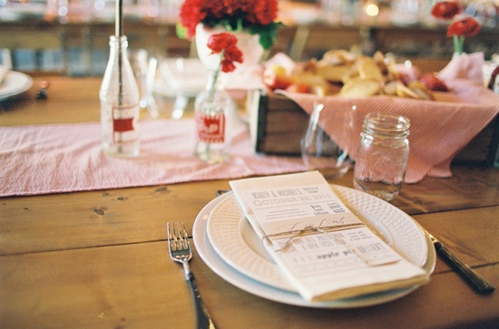 State Fair Inspired Barn Wedding Table Setting