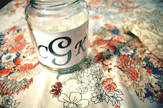 wedding DIY projects reception lighting monogram mason jar 2