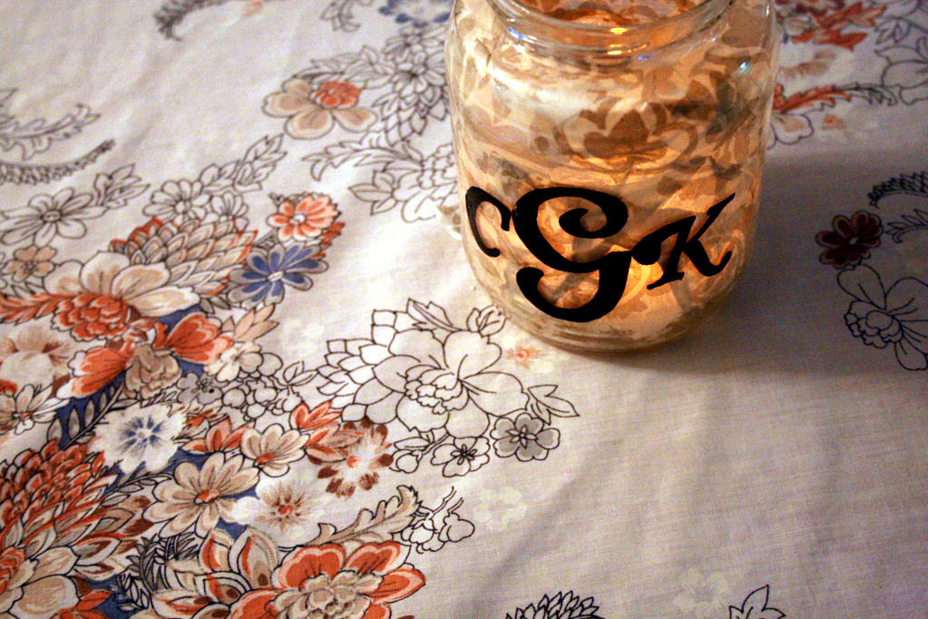 Wedding diy projects reception lighting monogram mason jar for Diy wedding reception lighting
