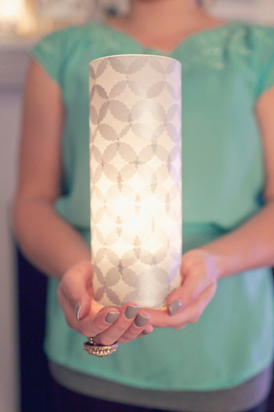 wedding DIY projects reception lighting tissue covered luminary vase