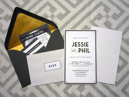 gorgeous wedding invitations black white gold