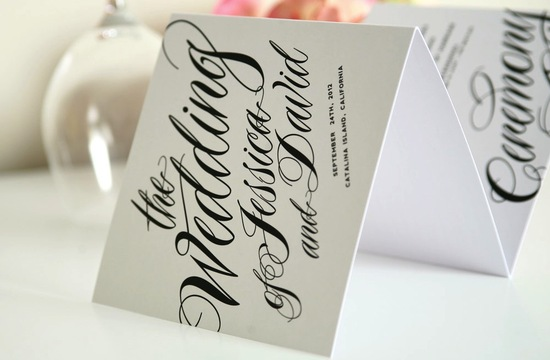 wedding invitation inspiration ceremony program weddings by Etsy black white script