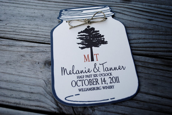 wedding invitation inspiration ceremony program weddings by Etsy mason jars rustic 1