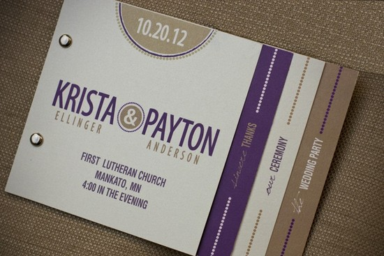 wedding invitation inspiration ceremony program weddings by Etsy purple taupe ivory