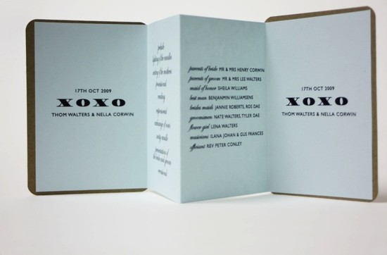 unique wedding ceremony programs ice blue black