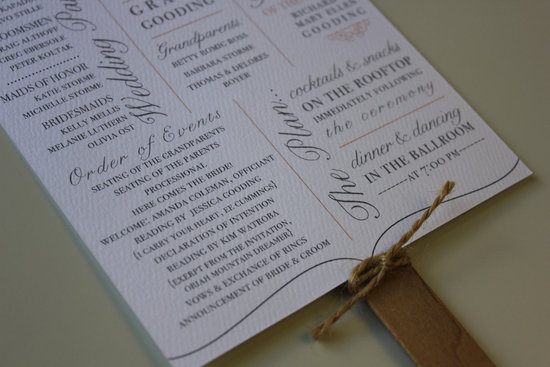 wedding invitation inspiration ceremony program handmade weddings by Etsy romantic fan