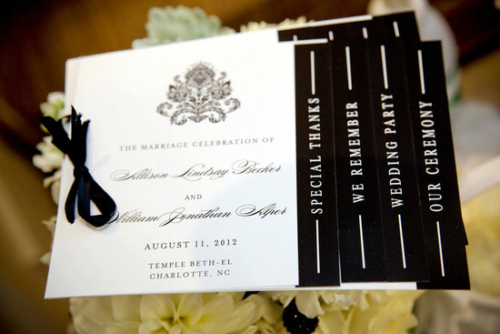 wedding invitation inspiration ceremony program handmade weddings by Etsy black and white