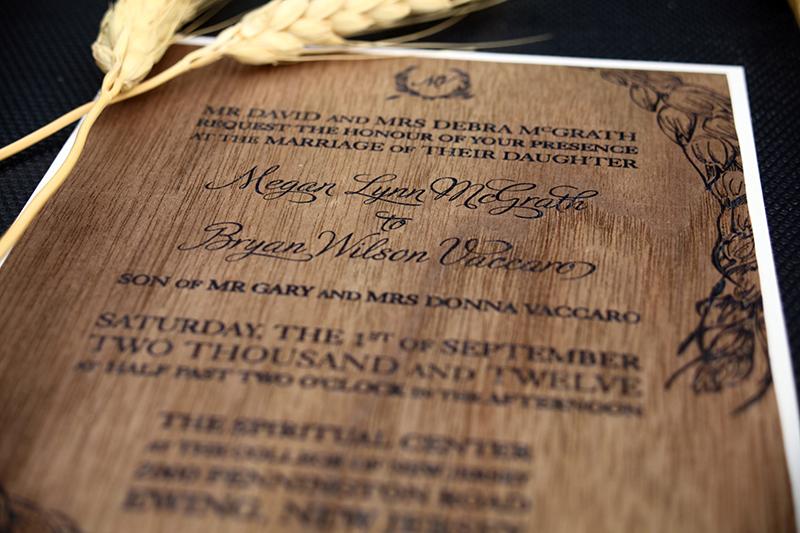 unique wedding invitations for rustic ranch wedding wood veneer - Unique Wedding Invitations