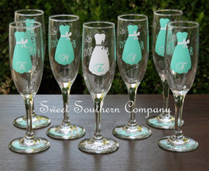 photo of 6 Personalized Bride and Bridesmaid Champagne Flutes by Sweet Southern Company on Etsy.