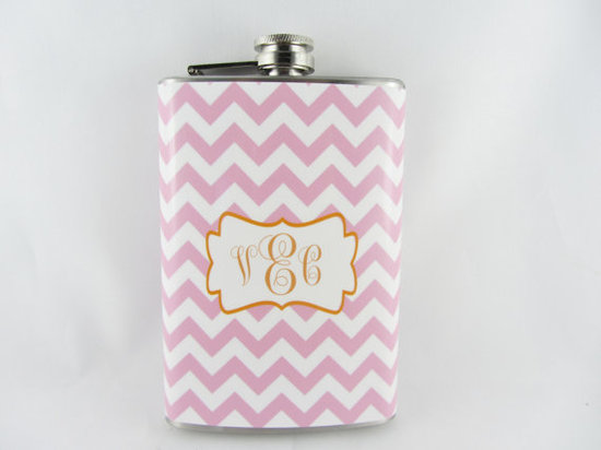photo of Chevron Monogram Flask by Brilliant Bashes on Etsy.