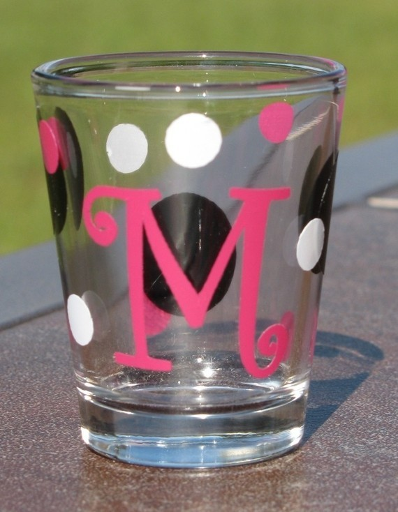 photo of Personalized Monogrammed Shot Glass by Simple and Sassy Gifts on Etsy.