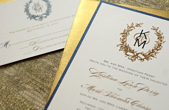 gilded wedding invitations Etsy weddings stationery gold navy ivory