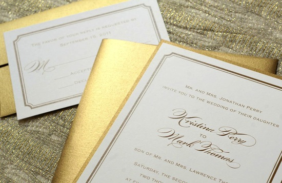 gilded wedding invitations Etsy weddings stationery classic elegance