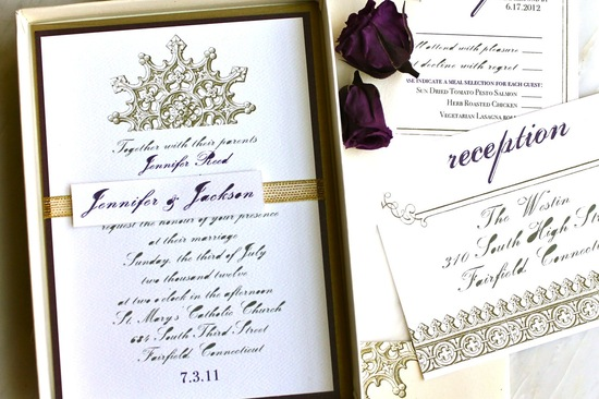 gilded wedding invitations Etsy weddings stationery royal purple
