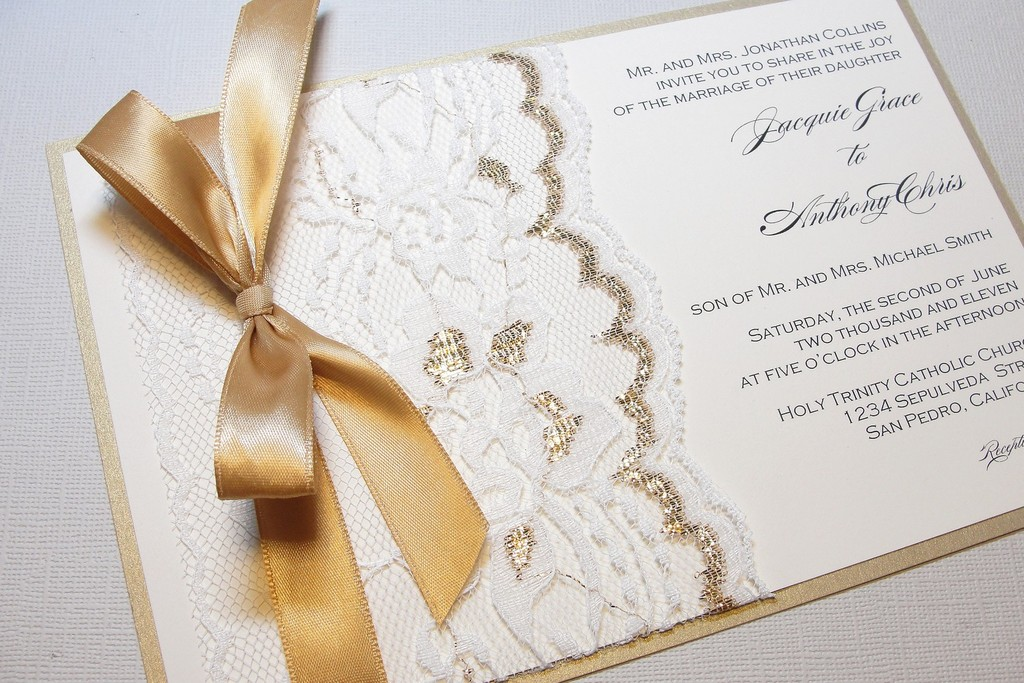 Gilded Wedding Invitations Etsy Weddings Stationery Lace Gold Ribbon