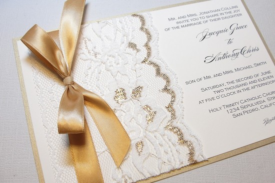 gilded wedding invitations Etsy weddings stationery lace gold ribbon