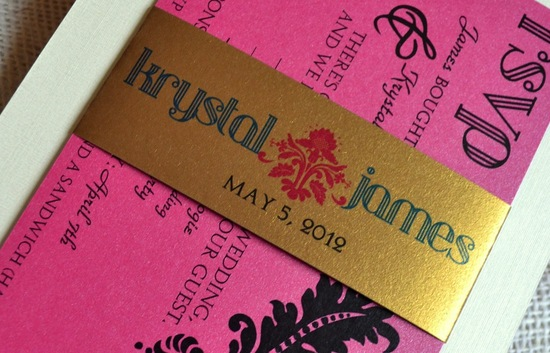 gilded wedding invitations Etsy weddings stationery gold hot pink