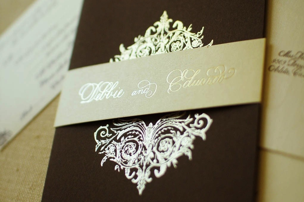wedding invitations Etsy weddings stationery chocolate brown gold – Brown and Gold Wedding Invitations