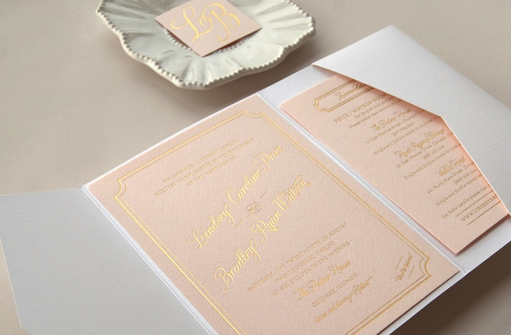 gilded wedding invitations Etsy weddings stationery pastel peach ...