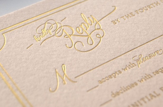 gilded wedding invitations Etsy weddings stationery soft pink gold letterpress