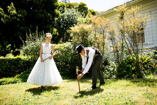 vintage inspired wedding at a mansion California weddings bride groom lawn games