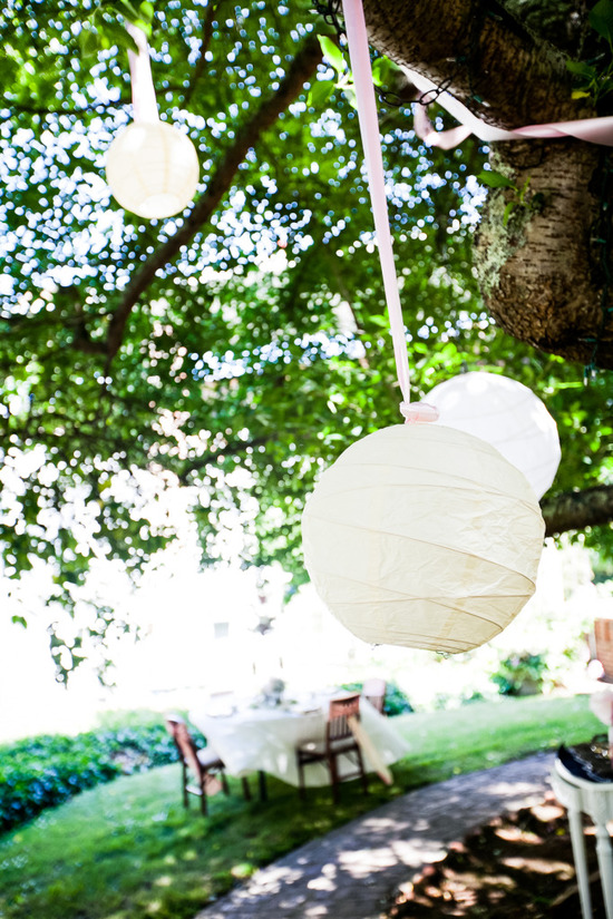 romantic mansion wedding with vintage inspired bride and groom paper lanterns outdoor reception deco