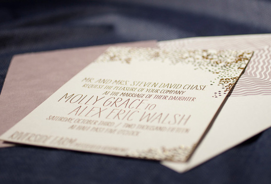photo of letterpress wedding invitation inspiration smock wedding stationery gold taupe ecru