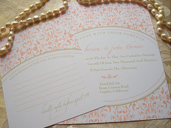 budget wedding ideas DIY invitations from Etsy peach sage
