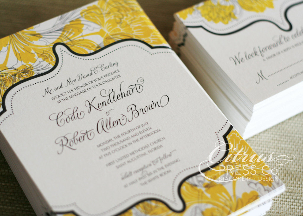 Budget wedding ideas diy invitations from etsy yellow black cream damask junglespirit Image collections
