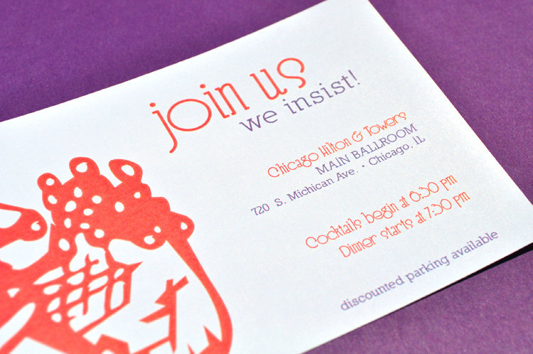 budget wedding ideas DIY invitations from Etsy orange purple white