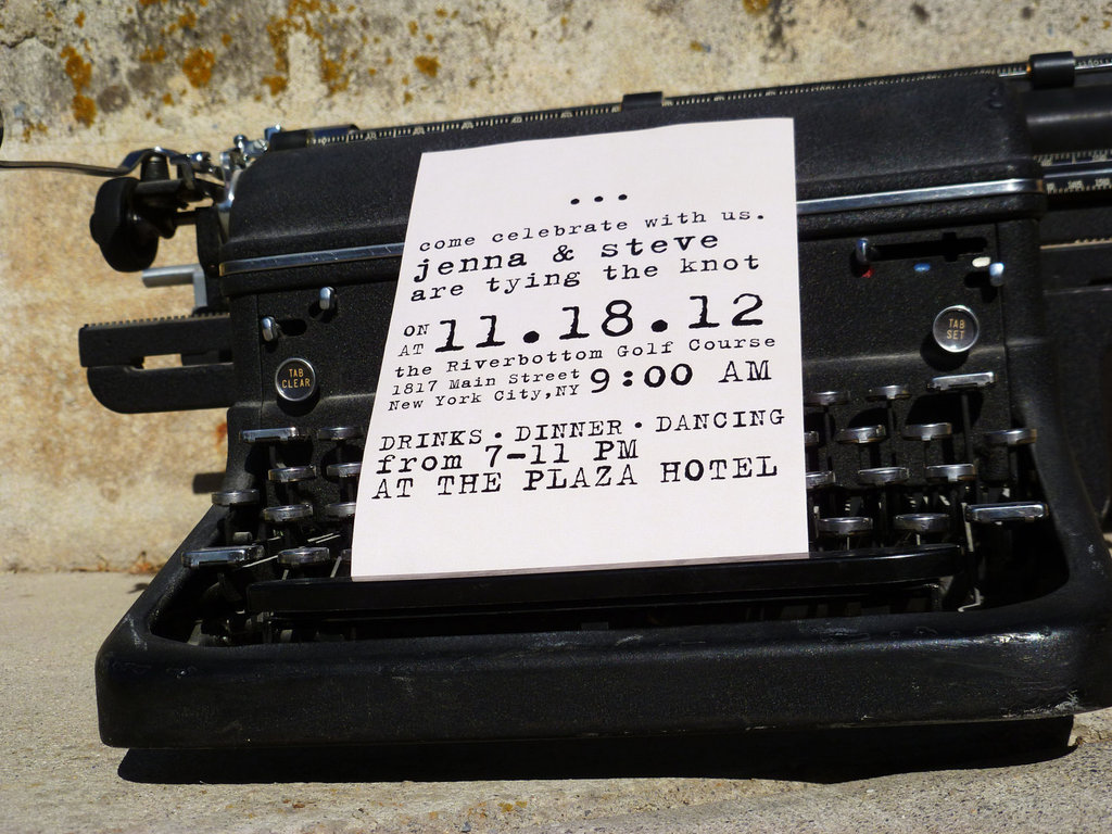 budget wedding ideas DIY invitations Etsy weddings vintage typewriter