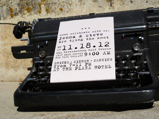budget wedding ideas DIY invitations Etsy weddings vintage typewriter