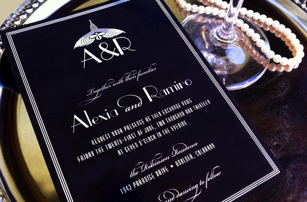Budget Wedding Ideas Diy Invitations Etsy Weddings Black White Art Deco