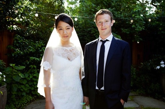 celebrity weddings Mark Zuckerberg bride wears Claire Pettibone wedding dress