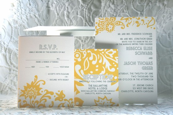 budget wedding ideas DIY invitations Etsy weddings yellow ivory gray
