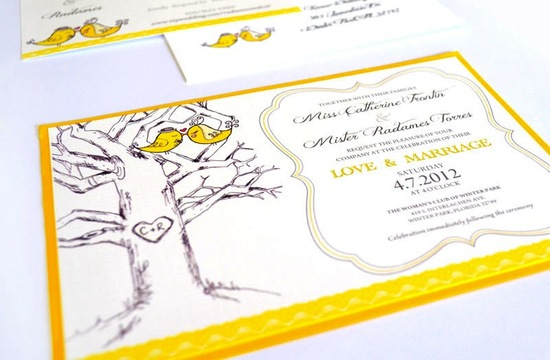 budget wedding ideas DIY invitations Etsy weddings yellow cream love birds
