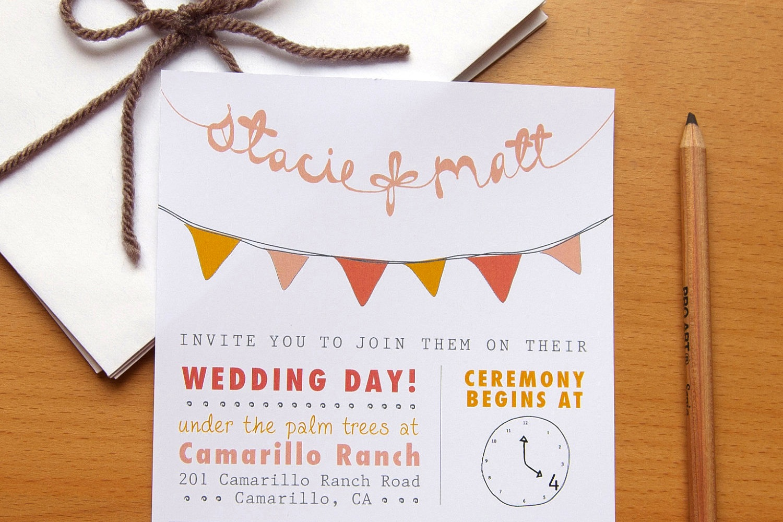 Budget wedding ideas diy invitations etsy weddings bunting for Diy wedding invitations ideas