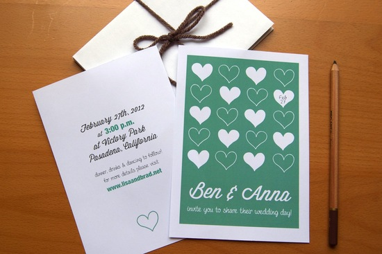 budget wedding ideas DIY invitations Etsy weddings teal white hearts