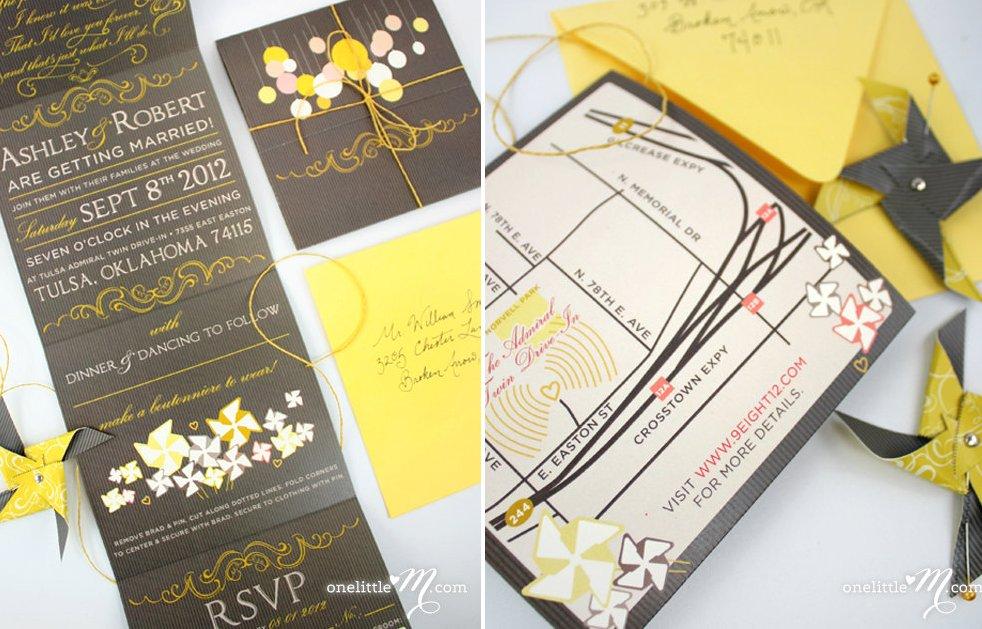 Chic DIY Wedding Invitations Etsy Weddings Yellow Gray