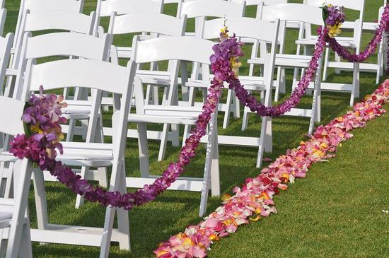 elegant wedding ceremonies outdoors purple orchid wedding flowers