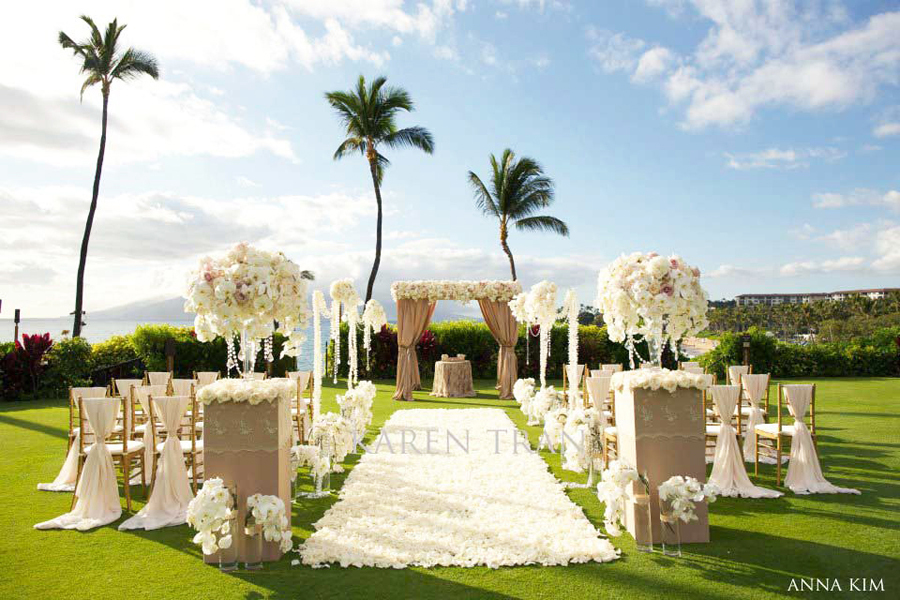elegant wedding ceremonies outdoors ivory orchid wedding flowers 2