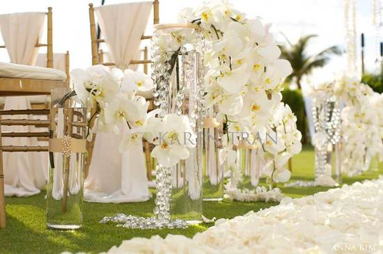 elegant wedding ceremonies outdoors ivory orchid wedding flowers
